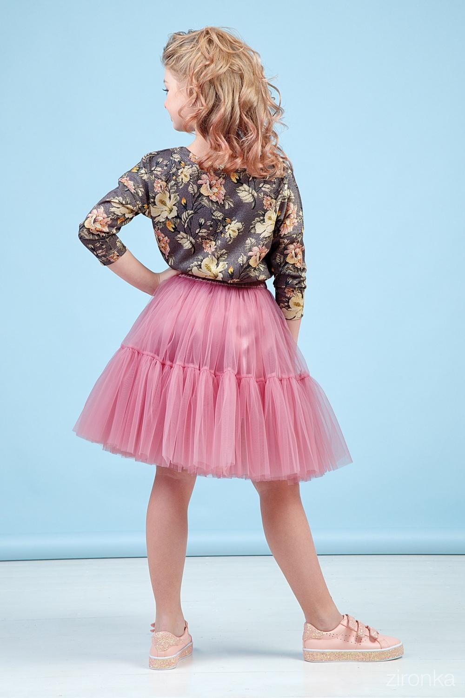 Комплект (блузка, юбка) пудровый для девочки 64-9002-5