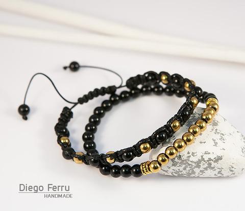 Комплект мужских браслетов из натурального камня, «Diego Ferru»