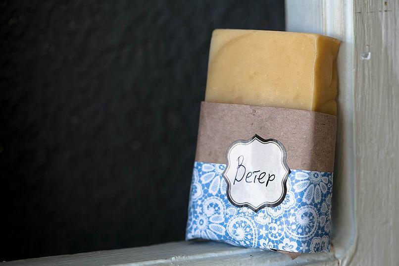 Этиклейка на упаковку для мыла Зимний орнамент