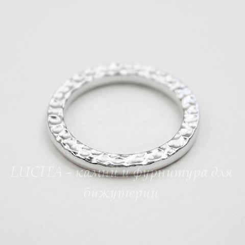 "Коннектор - кольцо TierraCast ""Hammertone"" 19 мм (цвет-платина) ()"