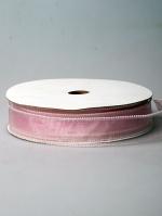 Лента органза с каймой розовая