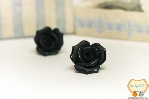 Фарфоровые серьги розы черные
