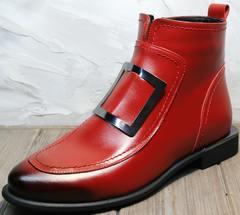 Ботинки женские лоферы демисезонные Evromoda 1481547 S.A.-Red