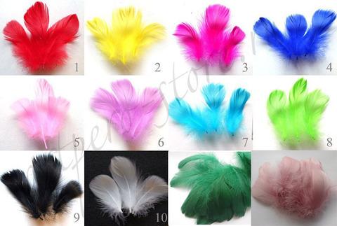 Перья гуся декоративные 5-12 см.,  20 шт. (выбрать цвет)