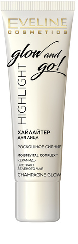 EVELINE Хайлайтер для лица CHAMPAGNE GLOW серии HIGHLIGHT GLOW AND GO! 20мл (*3*30)