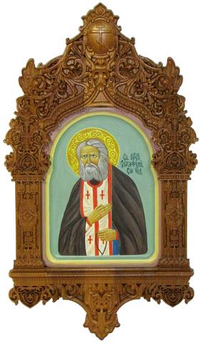 Рукописная икона Преподобный Серафим Саровский чудотворец на кипарисе 20х15см в резном киоте