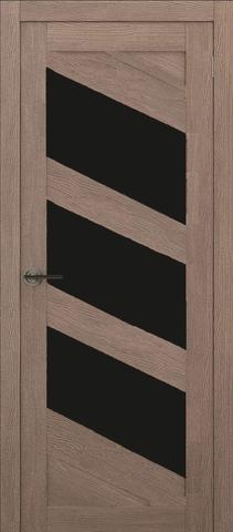 Дверь APOLLO DOORS F16, стекло чёрное Lacobel, цвет орех золотой, остекленная