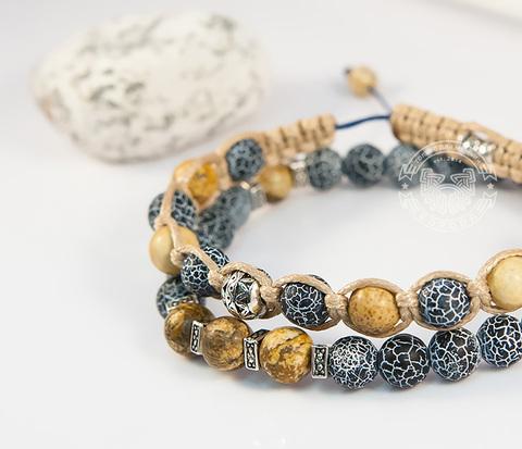 Двойной мужской браслет из камня, агат кракле и яшма, «Boroda Design»