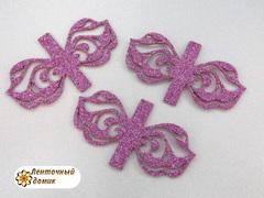 Ажурная накладка для бантов №1 темно-розовая