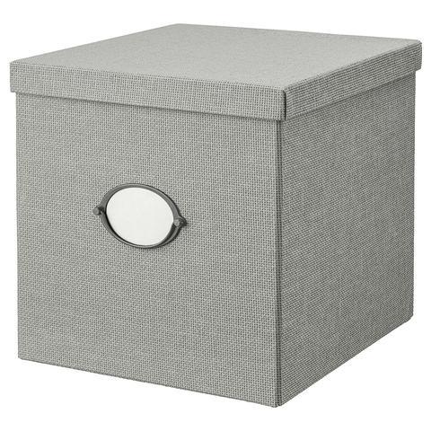 КВАРНВИК Коробка с крышкой, серый, 32x35x32 см