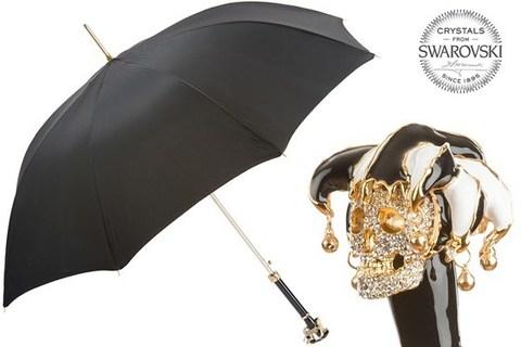 Зонт-трость Pasotti Swarovski® Jester Skull Umbrella, Италия (арт.479 Oxf-18 K58).