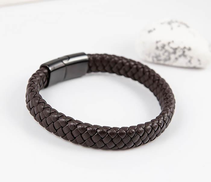 BM532-2 Мужской коричневый браслет из плетеной кожи фото 03