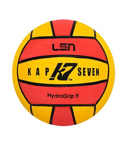 Официальный ватерпольный мяч KAP7 Official LEN + FINA Game Ball K7 5 yellow-red Размер 5 мужской арт.B-K7-LEN-50108