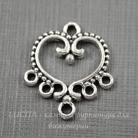 """Коннектор """"Сердце"""" (1-5) 21х19 мм (цвет - античное серебро)"""