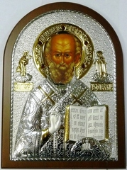 Серебряная с золочением инкрустированная гранатам икона святителя Николая Чудотворца (Угодника) 20х14,5см в подарочной коробке