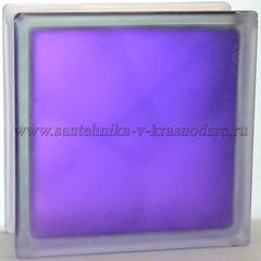 Стеклоблок матовый фиолетовый волна Vitrablok 19x19x8 окрашенный изнутри