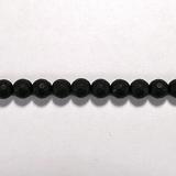 Бусина из оникса черного матового, фигурная, 6 мм (шар, граненая)