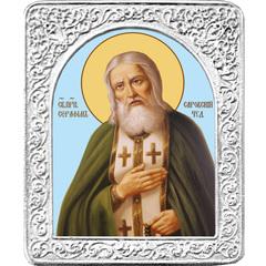 Святой преподобный Серафим Саровский. Маленькая икона в серебряной раме