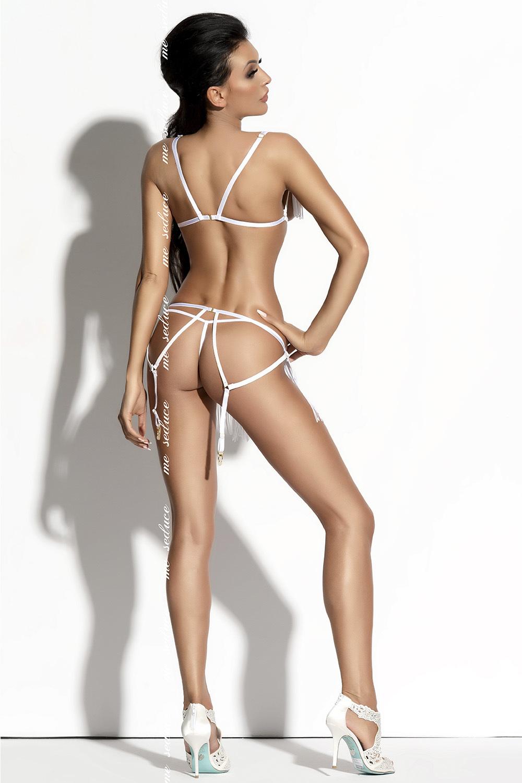 Эротический комплект белый из ремешков и нитей
