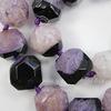 Бусина Агат с Кварцем (тониров) с огранкой, цвет - фиолетовый с черным, 16-17 мм, нить