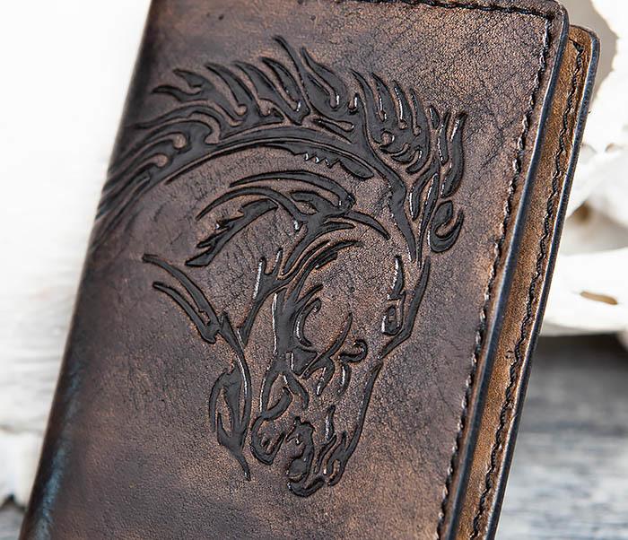 BC152 Обложка из кожи с тиснением в виде коня фото 02