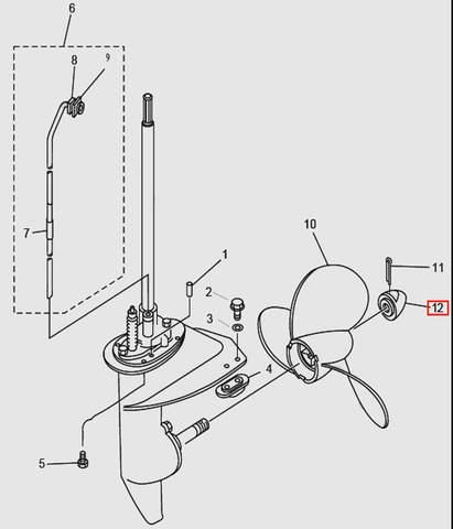 Гайка винта для лодочного мотора T9.8 Sea-PRO (14-12)