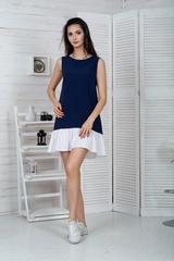 Долли. Молодежное платье с рюшей. Синий