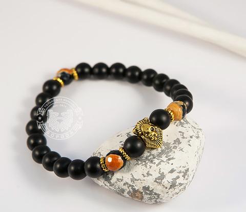 BS704 Яркий мужской браслет из камня со львом, ручная работа,