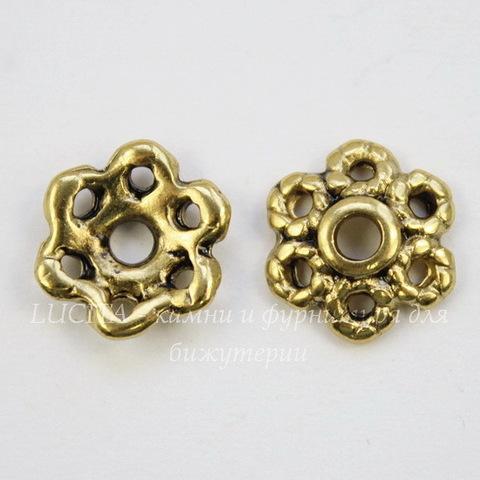 Шапочка для бусины (цвет - античное золото) 11 мм, 10 штук