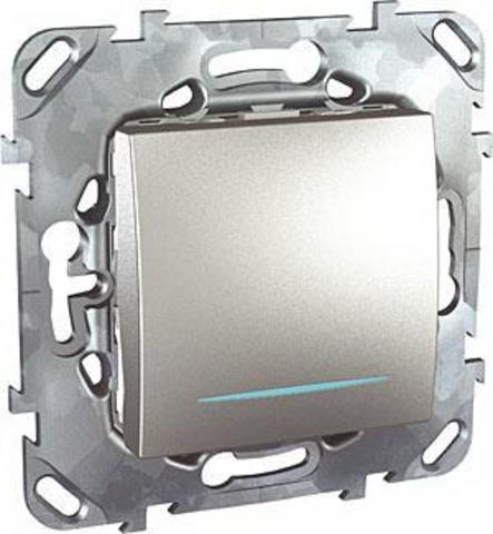 Выключатель кнопочный с подсветкой одноклавишный - Кнопка звонка с подсветкой - Выключатель без фиксации с подсветкой. Цвет Алюминий. Schneider electric Unica Top. MGU5.206.30NZD