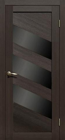 Дверь APOLLO DOORS F16, стекло чёрное Lacobel, цвет каштан тёмный, остекленная