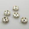Бусина - рондель 10х4 мм с прозрачными фианитами (цвет - серебро), 5 штук