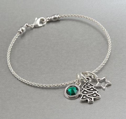 """Подвеска TierraCast """"Новогодняя елка"""" (цвет-античное серебро) 20х12 мм (пример. Новогодний браслет)"""