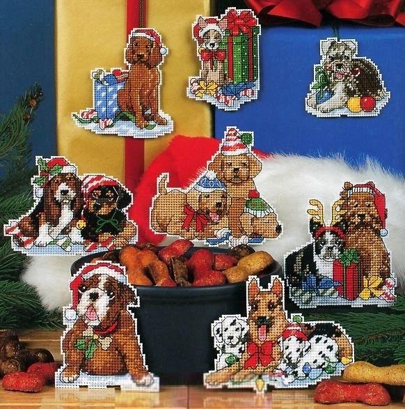 Набор для вышивания  Елочные игрушки. Собачки.  Holiday Hound Ornaments. Арт. 9120