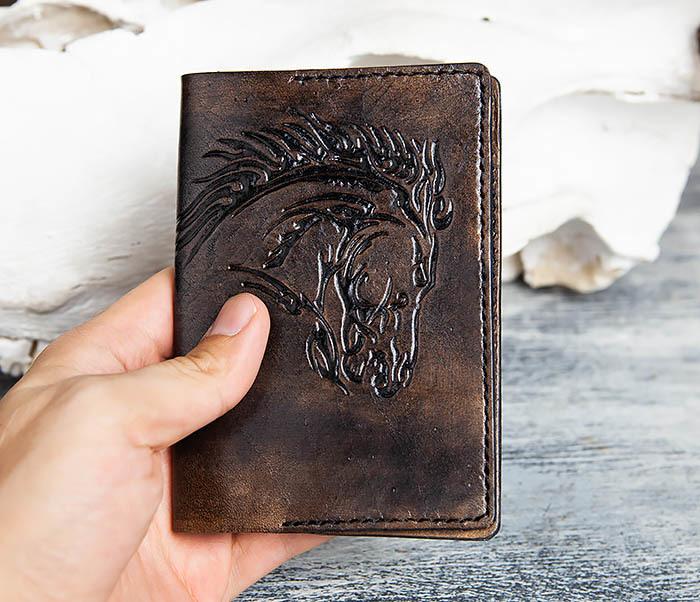 BC152 Обложка из кожи с тиснением в виде коня фото 05