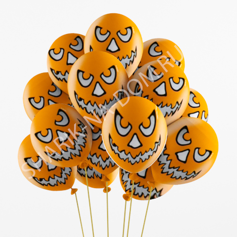 """Хэллоуин Облако оранжевых шариков """"Зловещая тыква"""" Шары_Зловещая_тыква.jpg"""