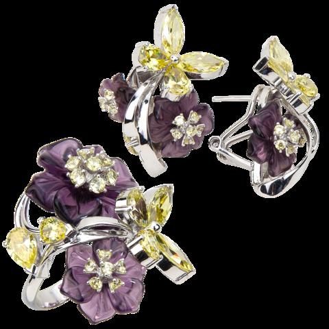 Комплект украшений с цветами из фиолетового кварца и фианитами № 131