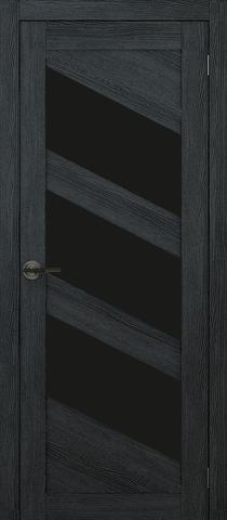 Дверь APOLLO DOORS F16, стекло чёрное Lacobel, цвет дуб серый, остекленная