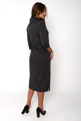 """Классическое платье прямого силуэта, длины """"миди"""". Рукав 3/4, ворот """"хомут"""". По бокам разрезы.  (Пояс в стоимость не входит). (Длина: 44=108см; 46=109см; 48=110см;  50=111см;  52=112см;)"""
