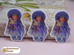Пластиковый декор Тильда фиолетовая №6