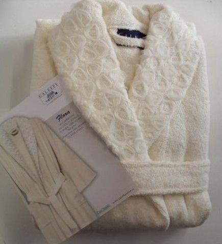Элитный халат махровый Flora кремовый от Caleffi