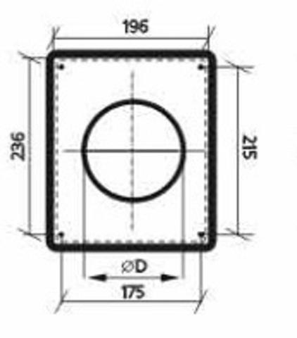 Торцовая площадка стальная 175х236/ф160 без решетки, с полимерным покрытием эмалью