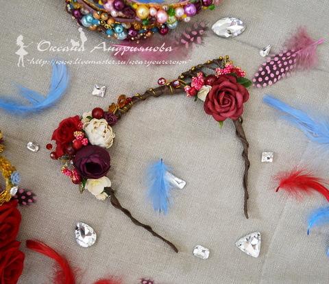 """Ободок для волос """"Ушки"""" с лентой (цвет - оливковый), 4 мм (Ободок с ушками. Пример)"""