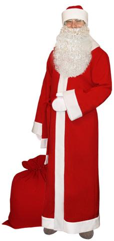 Костюм Деда Мороза с бородой и мешком