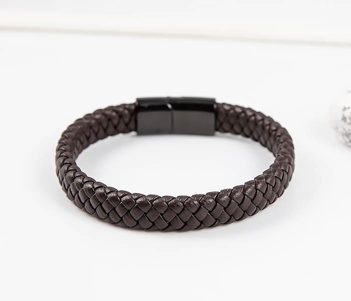 BM532-2 Мужской коричневый браслет из плетеной кожи фото 04