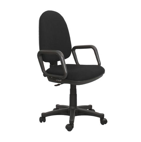 Кресло Гранд (Grand) на роликах с подлокотниками и пластиковой крестовиной в ткани черного цвета, арт. 452105/C11*, производитель БЕЛС (РБ)
