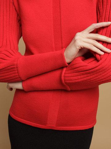 Женский джемпер красного цвета из 100% шерсти - фото 5