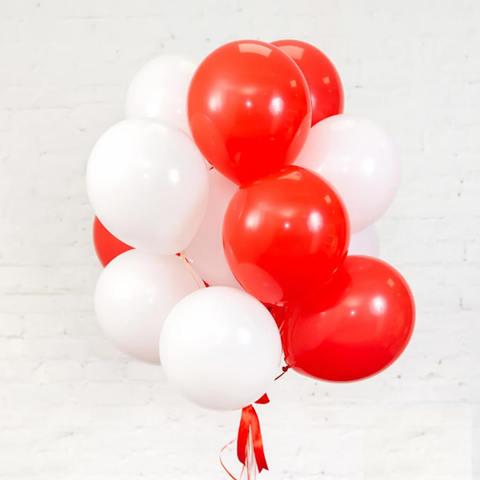 25 шаров 36 см красный и белый