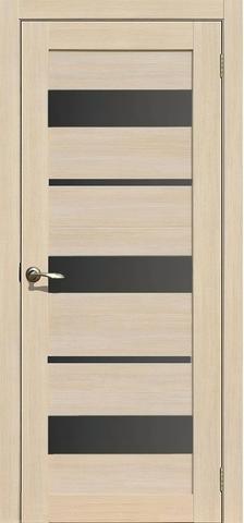Дверь APOLLO DOORS F10, стекло чёрное Lacobel, цвет лиственница светлая, остекленная