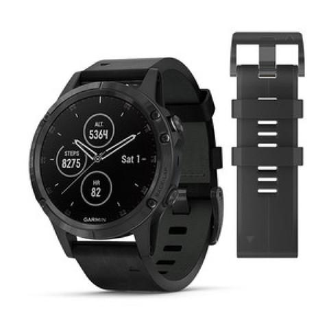 Купить Мужские мультиспортивные часы Garmin Fenix 5 Plus Sapphire - черные с черным кожаным ремешком 010-01988-07 по доступной цене